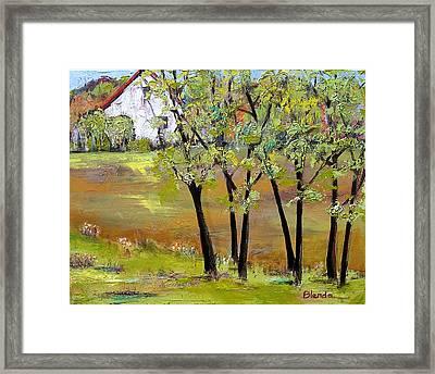 Landscapes Art - Hill House Framed Print by Blenda Studio
