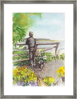 Langley Boy And Dog With Daffodils Framed Print by Judi Nyerges