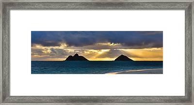 Lanikai Beach Sunrise Panorama 2 - Kailua Oahu Hawaii Framed Print by Brian Harig