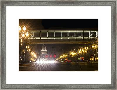 Lansing Crosswalk Framed Print by John McGraw