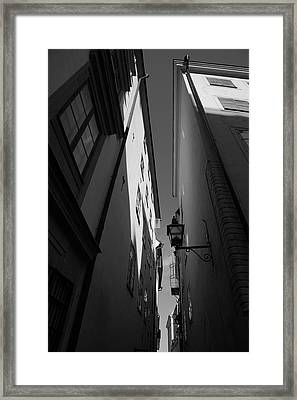 Lantern In A Narrow Alley - Monochrome Framed Print by Ulrich Kunst And Bettina Scheidulin