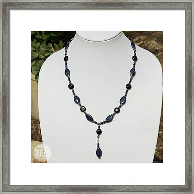 Lapis Lazuli And Black Onyx Lariat Necklace 3675 Framed Print by Teresa Mucha