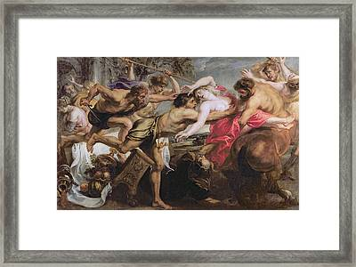 Lapiths And Centaurs Oil On Canvas Framed Print by Peter Paul Rubens