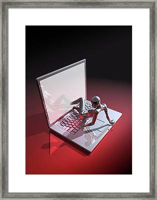 Laptop And Human Framed Print by Victor Habbick Visions
