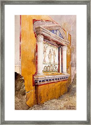 Lararium Of Family Altar, Seen In Situ Framed Print by Luigi Bazzani