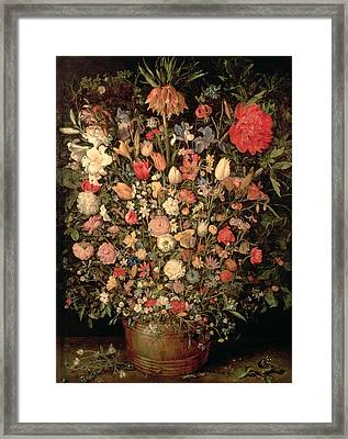 Large Bouquet Of Flowers In A Wooden Tub, 1606-07, Oil On Canvas Framed Print by Jan the Elder Brueghel