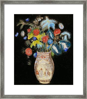 Large Bouquet On A Black Background Framed Print by Odilon Redon