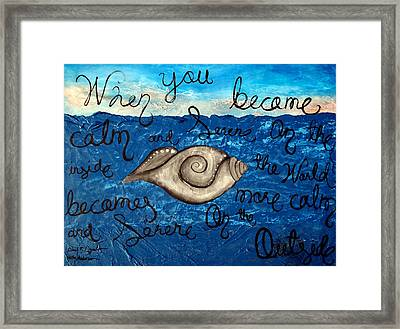Large Contemporary Original Painting Featuring Rare Sacred Conch Shell Buddha Quote Framed Print by Holly Anderson and Pato Aguilar
