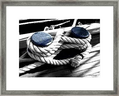 Large Dock Cleat Framed Print by Cheryl Young