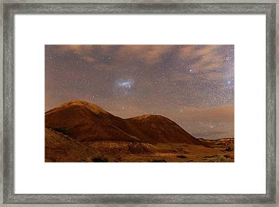 Large Magellanic Cloud Over Badlands Framed Print by Luis Argerich