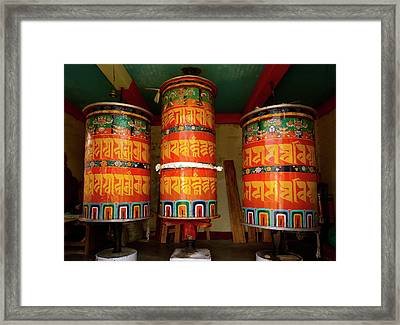 Large Prayer Wheels, Monastery Framed Print by Jaina Mishra