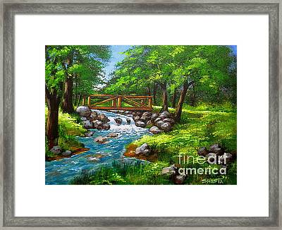 Larson  Crk  Bridge  Framed Print by Shasta Eone