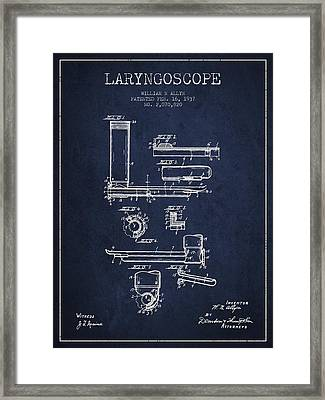 Laryngoscope Patent From 1937  - Navy Blue Framed Print by Aged Pixel