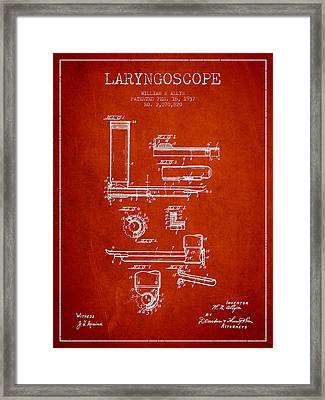 Laryngoscope Patent From 1937  - Red Framed Print by Aged Pixel