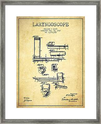 Laryngoscope Patent From 1937  - Vintage Framed Print by Aged Pixel