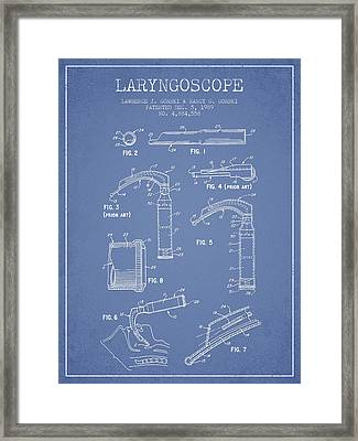 Laryngoscope Patent From 1989 - Light Blue Framed Print by Aged Pixel