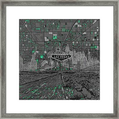 Las Vegas Abstract Map Framed Print by Bekim Art