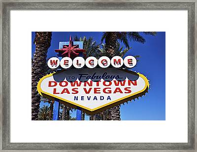 Las Vegas Nevada Welcome Sign Framed Print by Garry Gay