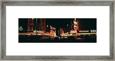 Las Vegas Nv Downtown Neon, Fremont St Framed Print by Panoramic Images