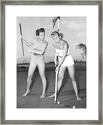 Las Vegas Showgirl Golf Framed Print by Underwood Archives