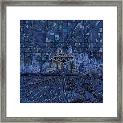 Las Vegas Skyline Framed Print by Bekim Art