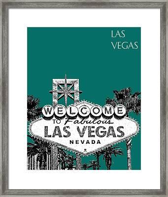 Las Vegas Welcome To Las Vegas - Sea Green Framed Print by DB Artist