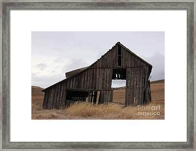 Last Legs Barn I Framed Print by Linda Meyer