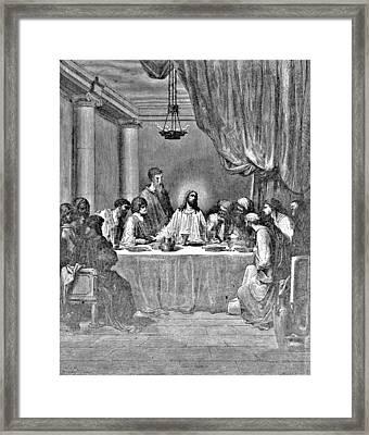 Last Supper Biblical Illustration Framed Print by