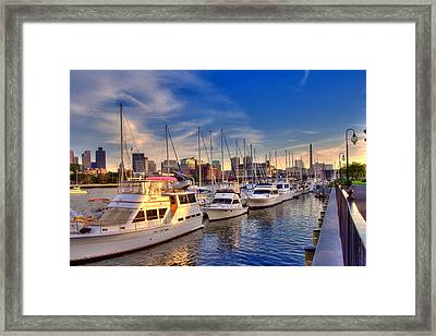 Late Afternoon At Constitution Marina - Charlestown Framed Print by Joann Vitali