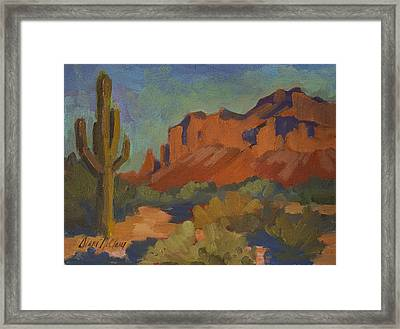 Late Afternoon Light At Superstition Mountain Framed Print by Diane McClary