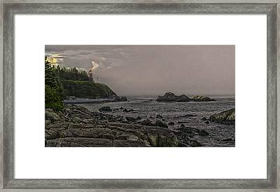 Late Afternoon Sun On West Quoddy Head Lighthouse Framed Print by Marty Saccone
