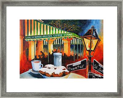 Late At Cafe Du Monde Framed Print by Diane Millsap