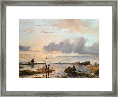 Late Winter In Holland Framed Print by Nicholas Jan Roosenboom