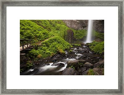 Latourell Falls And Rapids Framed Print by Andrew Soundarajan