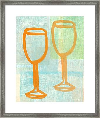 Laugh And Wine Framed Print by Linda Woods