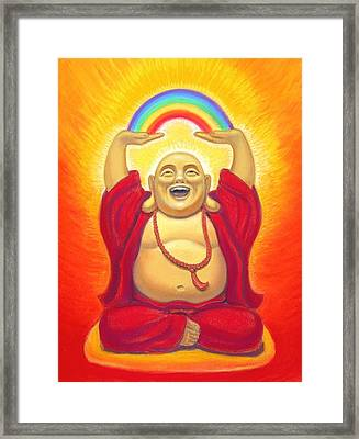 Laughing Rainbow Buddha Framed Print by Sue Halstenberg