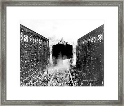 Launching Of Ss Acme Framed Print by Underwood Archives