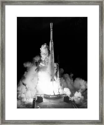 Launching Of Telstar Framed Print by Underwood Archives