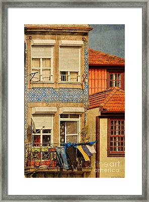 Laundry Day In Porto - Photo Framed Print by Mary Machare
