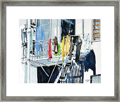 Laundry Day In San Francisco Framed Print by Tom Riggs