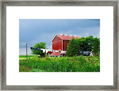 Laundry Day On The Farm Framed Print by Bill Cannon