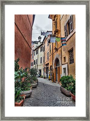 Laundry In Trastevere District Of Rome Framed Print by Frank Bach