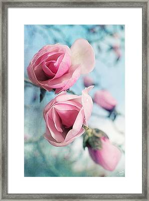 Laura Ashley Inspired Springtime Magnolias On Blue Sky Framed Print by Lisa Knechtel
