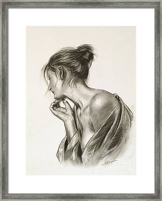 Laura In Deep Thought Framed Print by John Silver