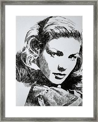 Lauren Bacall Framed Print by Robbi  Musser