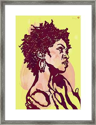 Lauryn Hill B W -  Modern Colour Etching Art  Poster Framed Print by Kim Wang