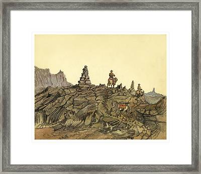 Lava Fields In Iceland Circa 1862 Framed Print by Aged Pixel