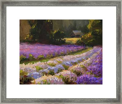 Lavender Farm Landscape Painting - Barn And Field At Sunset Impressionism  Framed Print by Karen Whitworth