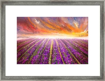 Lavender Field Painting - Impressionist Framed Print by Lourry Legarde