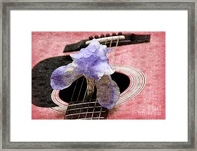 Lavender Iris And Acoustic Guitar - Texture - Music - Musical Instrument - Painterly - Pink  Framed Print by Andee Design